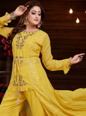 Yellow Georgette Party Wear Kurti