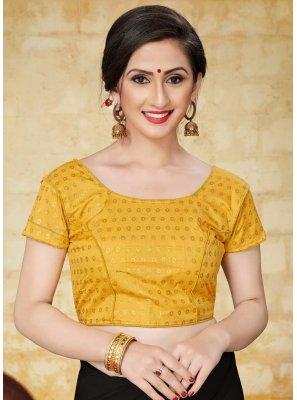 Yellow Jacquard Designer Blouse