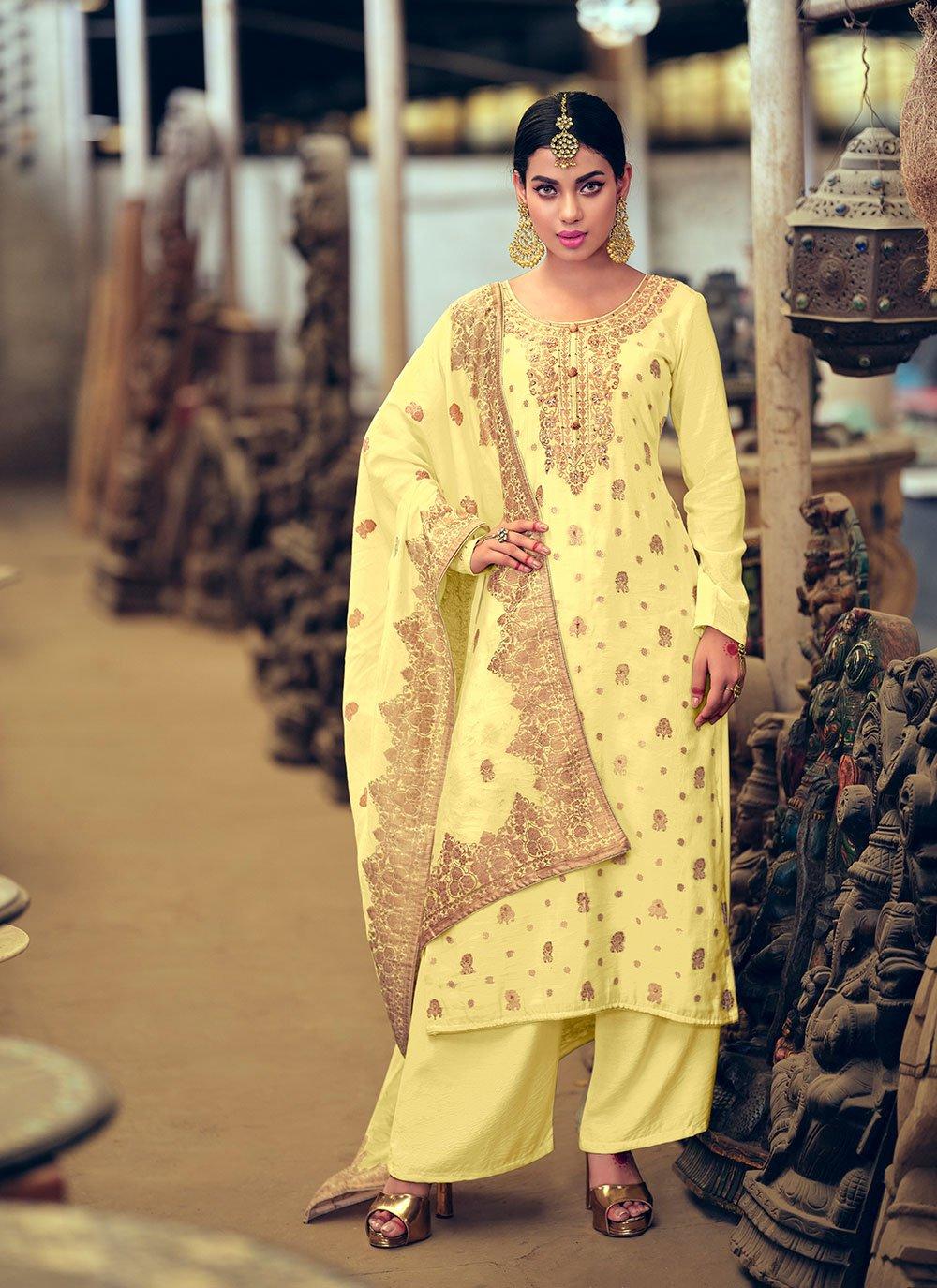 Yellow Jacquard Silk Handwork Designer Palazzo Salwar Kameez