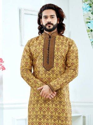 Yellow Jacquard Weaving Kurta Pyjama