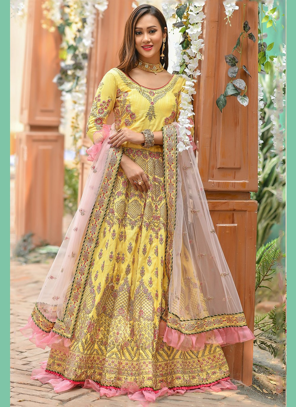 Yellow Lace Engagement A Line Lehenga Choli
