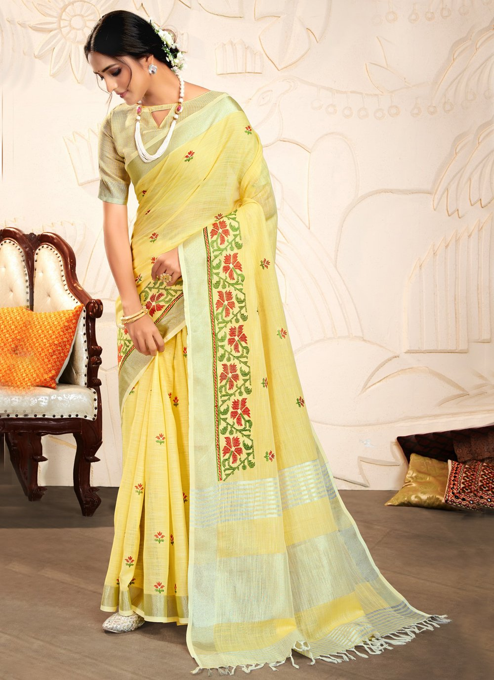 Yellow Linen Embroidered Classic Saree