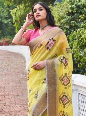 Yellow Linen Weaving Classic Saree
