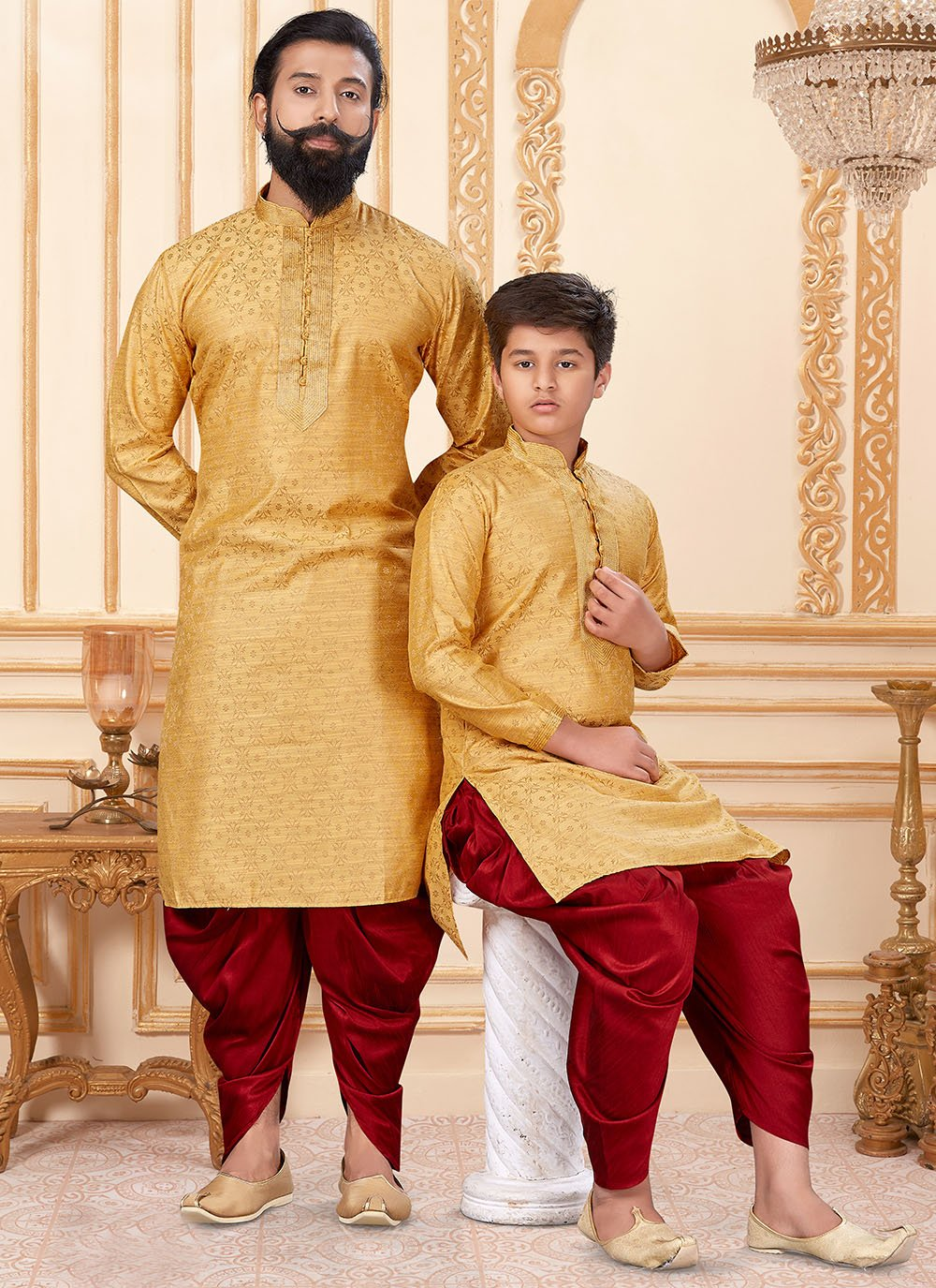 Yellow Mehndi Dupion Silk Dhoti Kurta