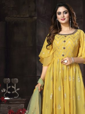 Yellow Mehndi Readymade Suit