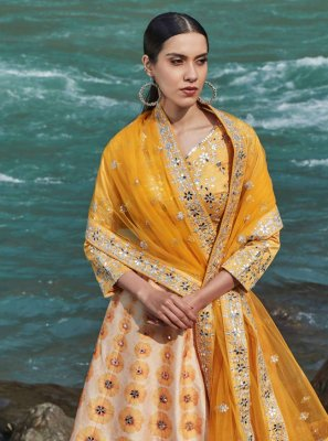 Yellow Mirror Lehenga Choli