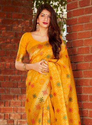 Yellow Party Silk Traditional Designer Saree