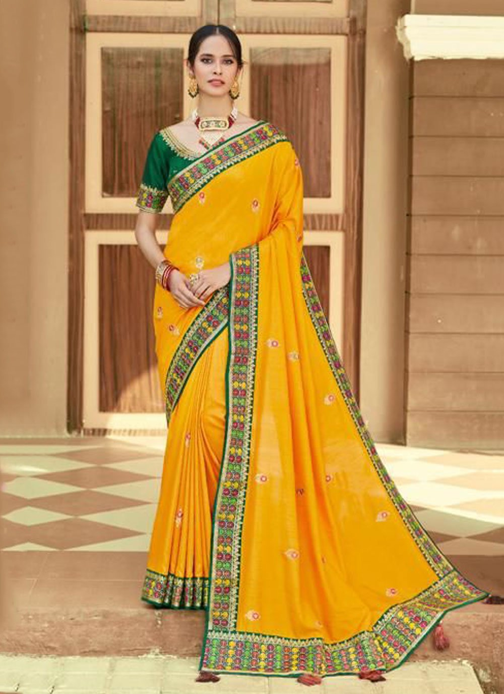 Yellow Party Silk Traditional Saree