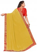 Yellow Patch Border Art Silk Designer Traditional Saree