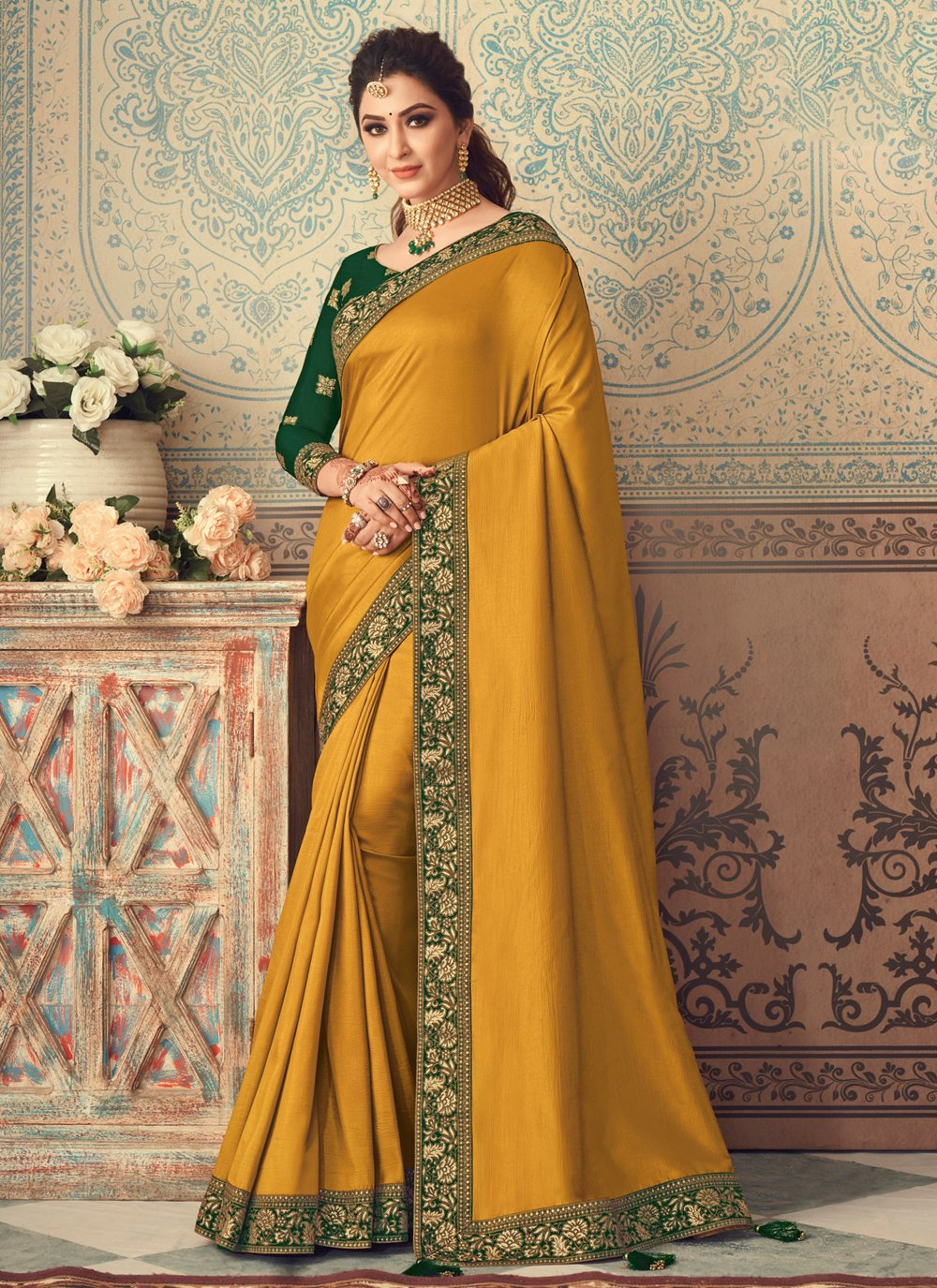 Yellow Patch Border Traditional Designer Saree