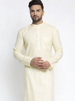 Yellow Plain Cotton Kurta Pyjama