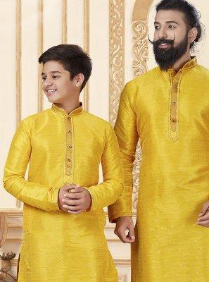Yellow Plain Jacquard Silk Kurta Pyjama