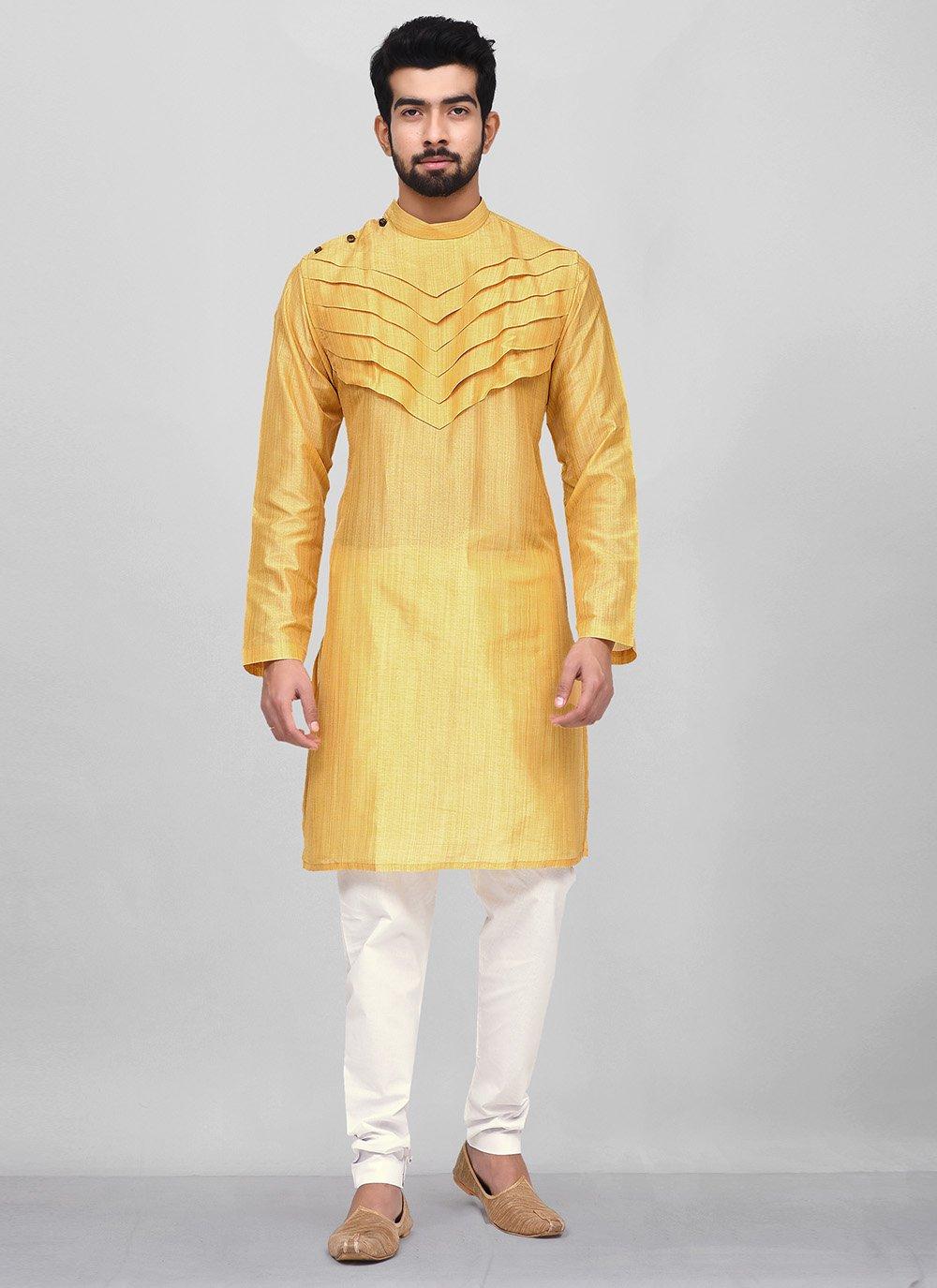 Yellow Plain Kurta Pyjama