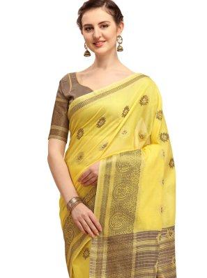 Yellow Print Cotton Silk Classic Designer Saree