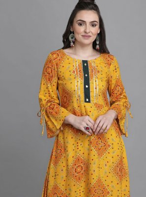 Yellow Print Festival Party Wear Kurti