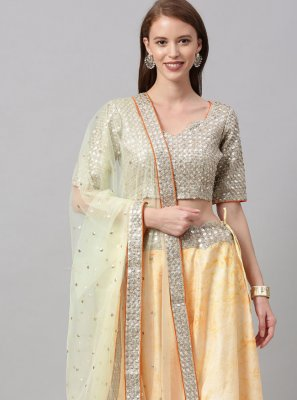 Yellow Print Lehenga Choli