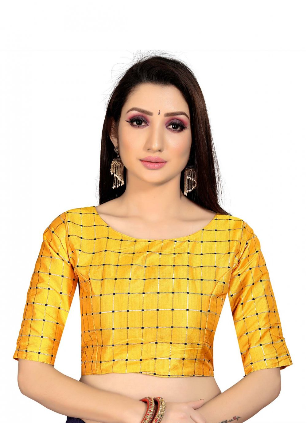 Yellow Printed Art Silk Blouse