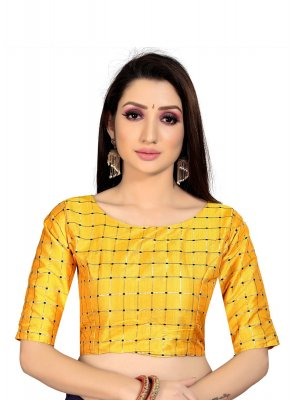 Yellow Printed Art Silk Blouse