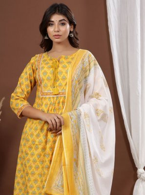 Yellow Printed Festival Readymade Suit