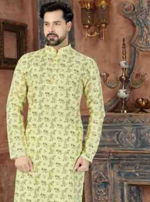 Yellow Printed Kurta Pyjama
