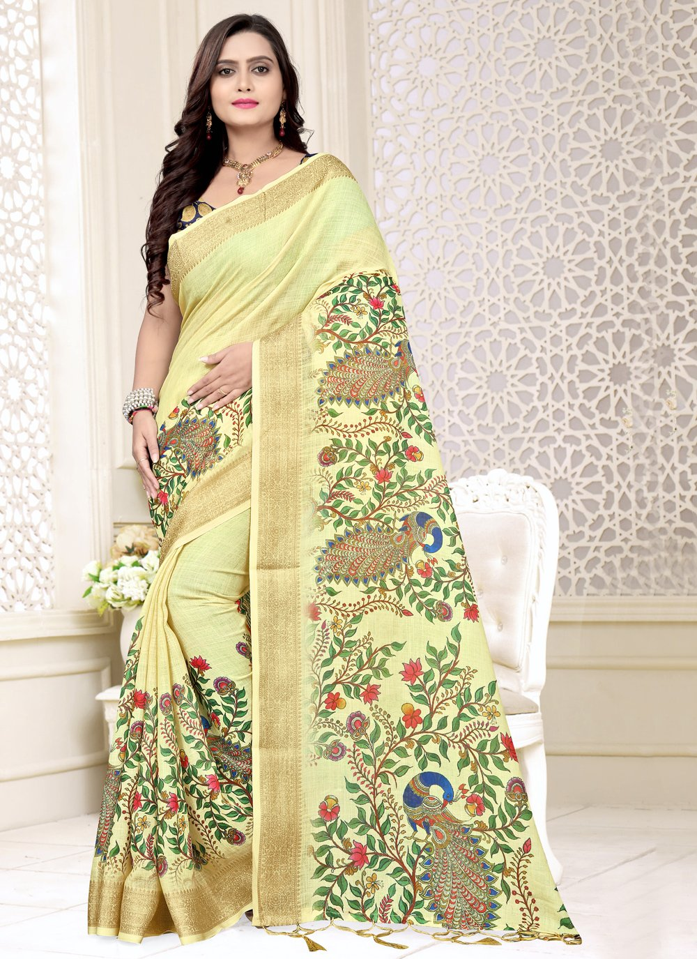 Yellow Printed Linen Bollywood Saree
