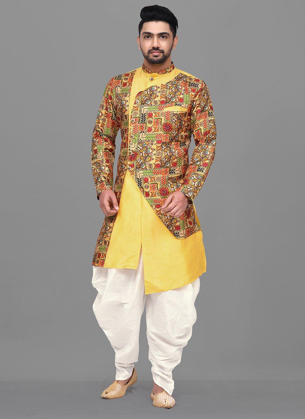 Yellow Printed Party Dhoti Kurta