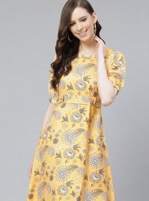 Yellow Printed Rayon Party Wear Kurti