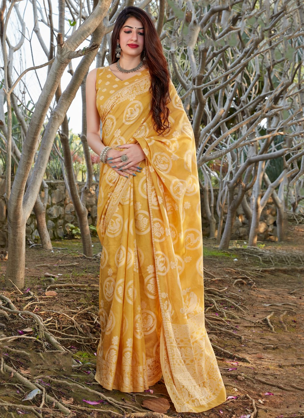 Yellow Printed Traditional Saree