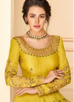 Yellow Pure Silk Designer Floor Length Salwar Suit