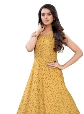 Yellow Rayon Floral Print Party Wear Kurti