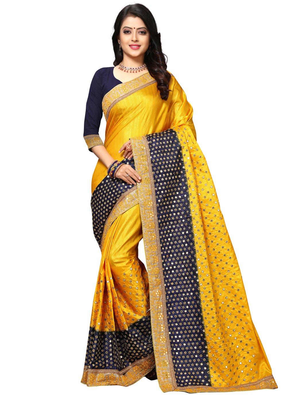 Yellow Resham Designer Traditional Saree