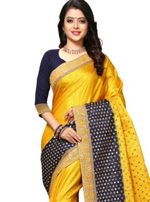 Yellow Resham Designer Traditional Saree