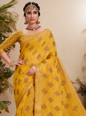 Yellow Resham Fancy Fabric Classic Saree