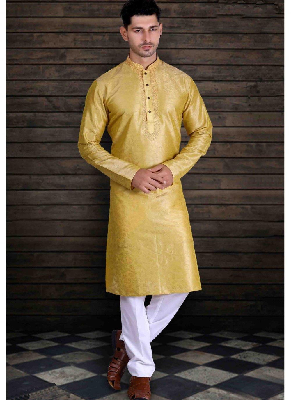 Yellow Sangeet Art Silk Kurta Pyjama