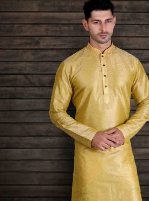 Yellow Sangeet Art Silk Kurta Pyjama