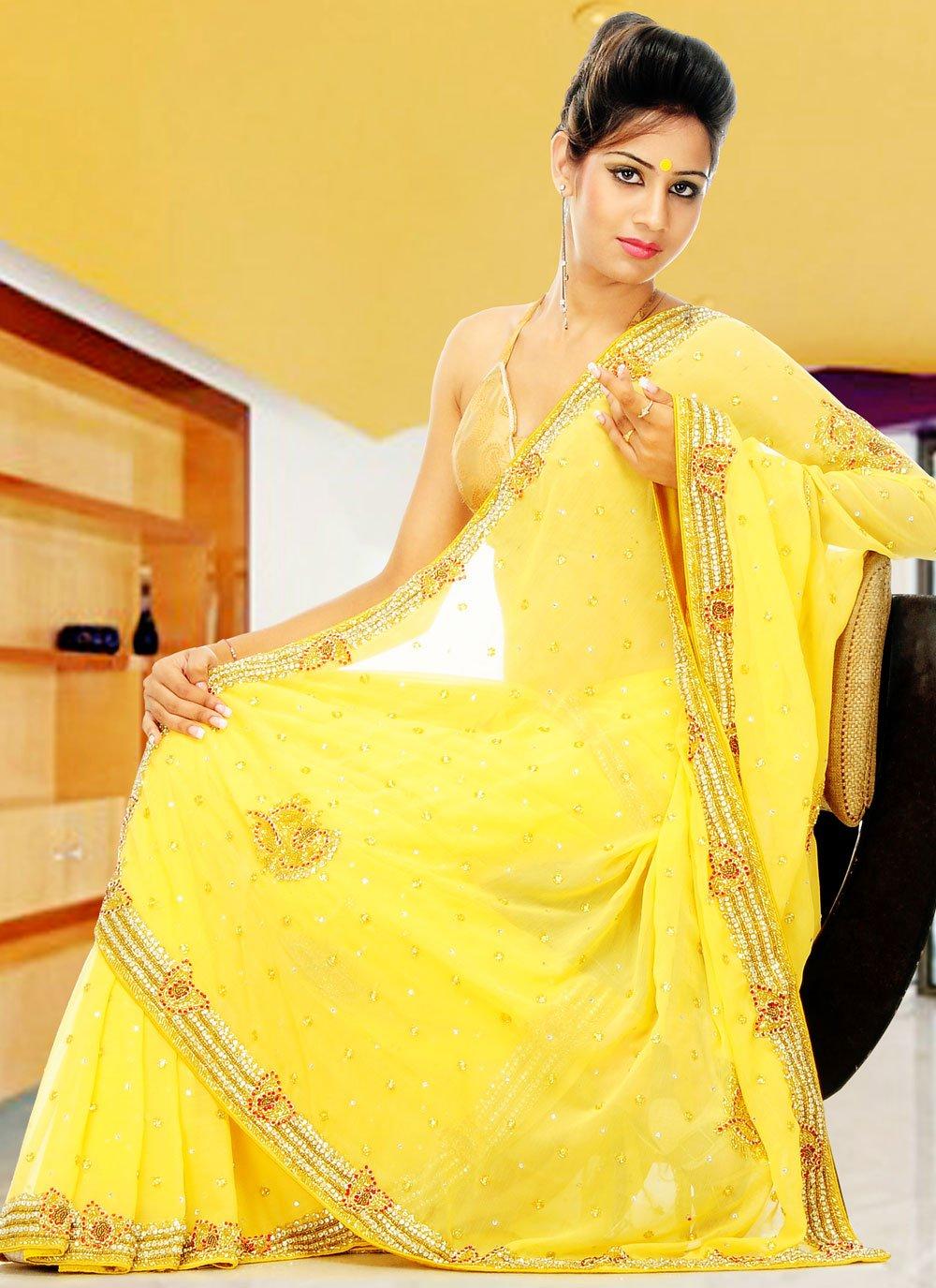 Yellow Sangeet Georgette Designer Saree