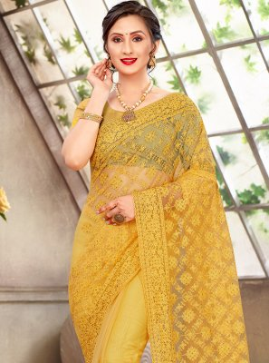 Yellow Sangeet Net Traditional Saree