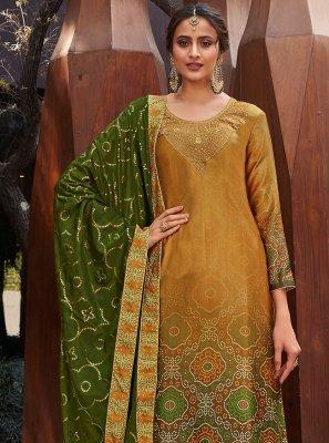 Yellow Satin Designer Palazzo Suit