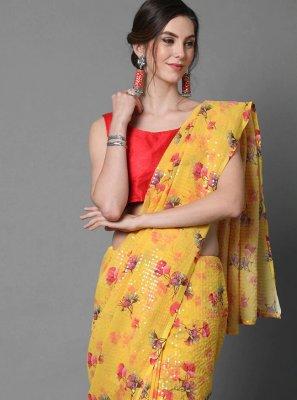 Yellow Sequins Faux Georgette Classic Designer Saree
