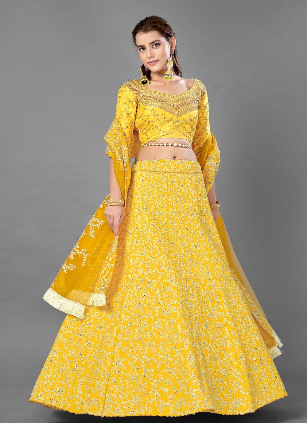 Yellow Sequins Lehenga Choli