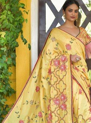 Yellow Sequins Silk Classic Saree