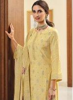 Yellow Silk Designer Palazzo Suit