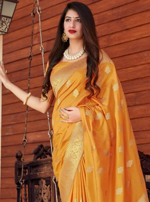 Yellow Silk Designer Traditional Saree