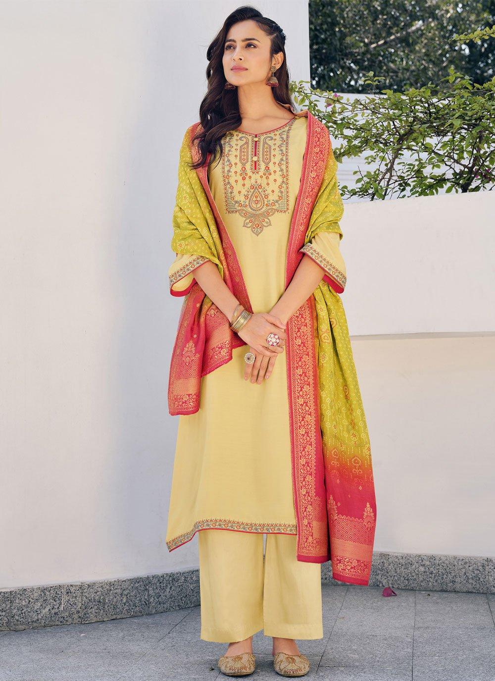 Yellow Silk Festival Designer Palazzo Suit