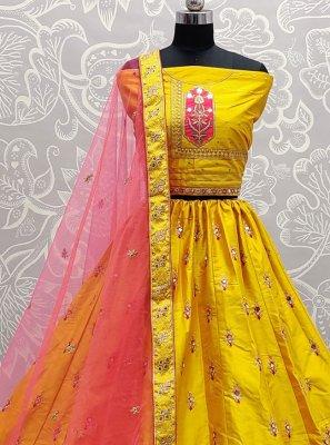 Yellow Silk Lehenga Choli