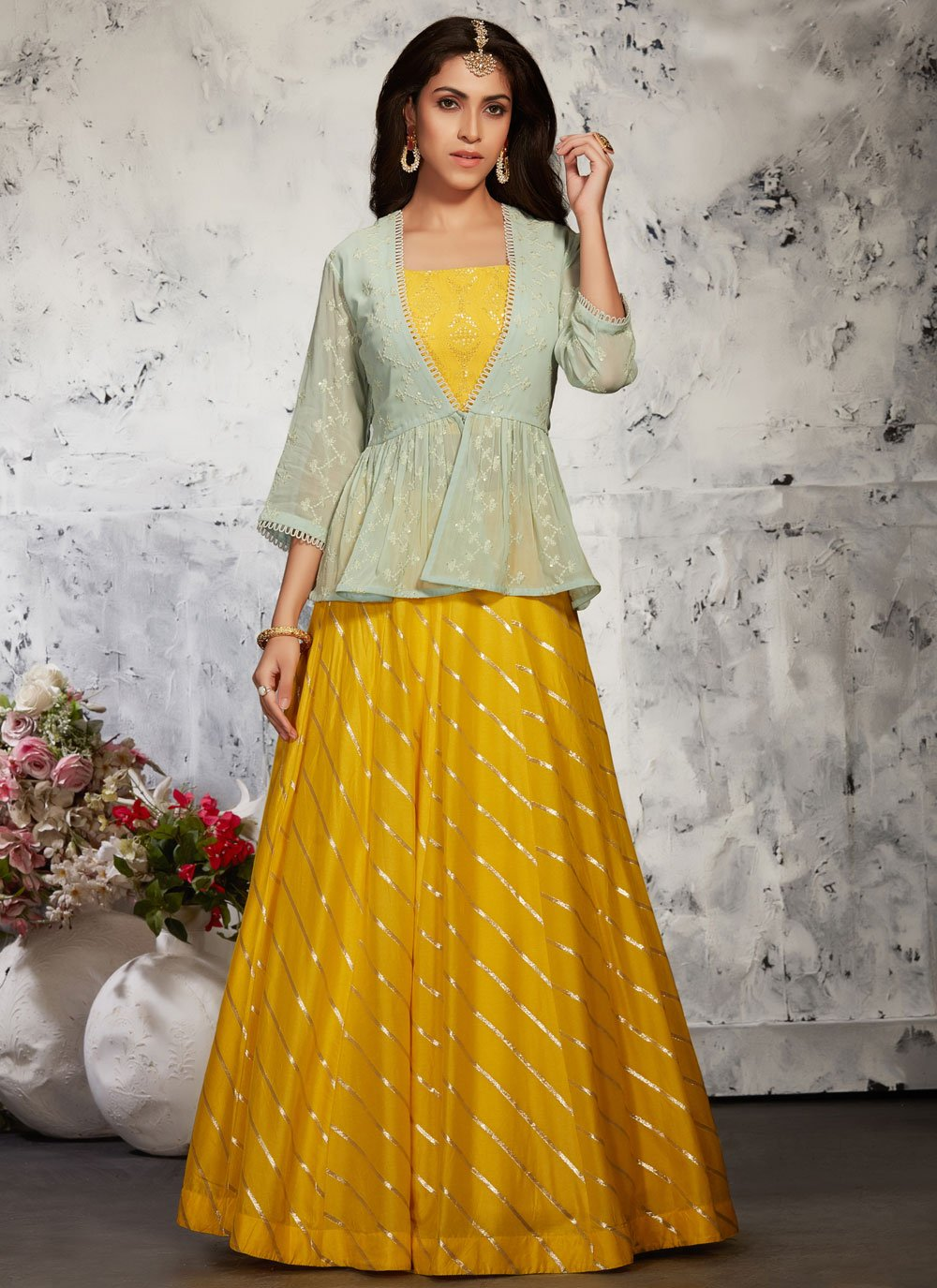 Yellow Silk Readymade Lehenga Choli