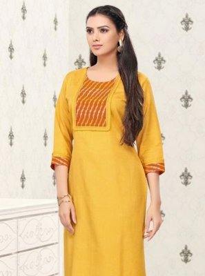 Yellow Thread Work Festival Party Wear Kurti