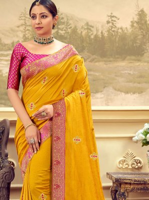 Yellow Vichitra Silk Classic Designer Saree