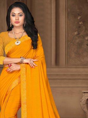Yellow Vichitra Silk Classic Saree
