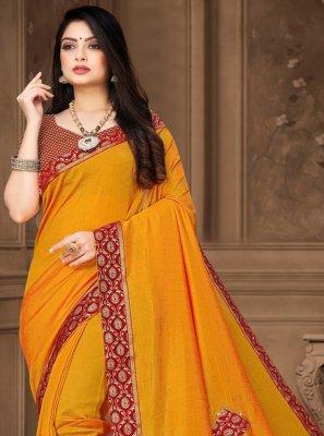 Yellow Vichitra Silk Festival Classic Saree